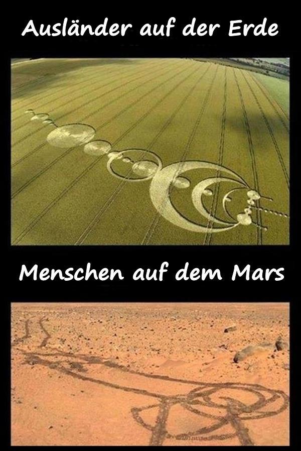 Ausländer auf der Erde und Menschen auf dem Mars