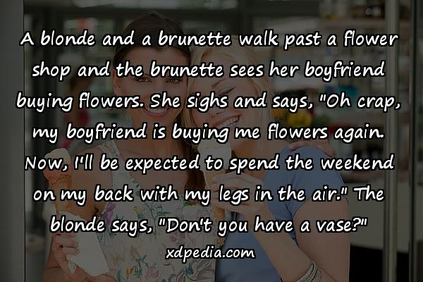 """A blonde and a brunette walk past a flower shop and the brunette sees her boyfriend buying flowers. She sighs and says, """"Oh crap, my boyfriend is buying me flowers again. Now, I'll be expected to spend the weekend on my back with my legs in the air."""" The blonde says, """"Don't you have a vase?"""""""