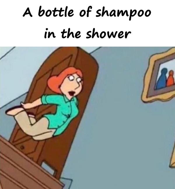 A bottle of shampoo in the shower