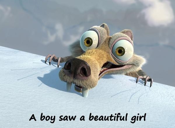 A boy saw a beautiful girl