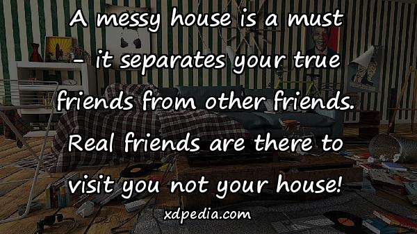 A messy house is a must - it separates your true friends from other friends. Real friends are there to visit you not your house!