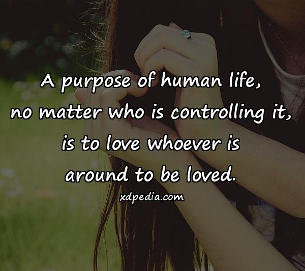 A purpose of human life, no matter who is controlling it, is to love whoever is around to be loved.
