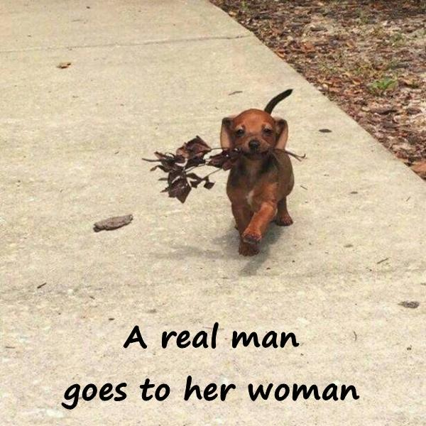 A real man goes to her woman