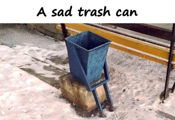 A sad trash can