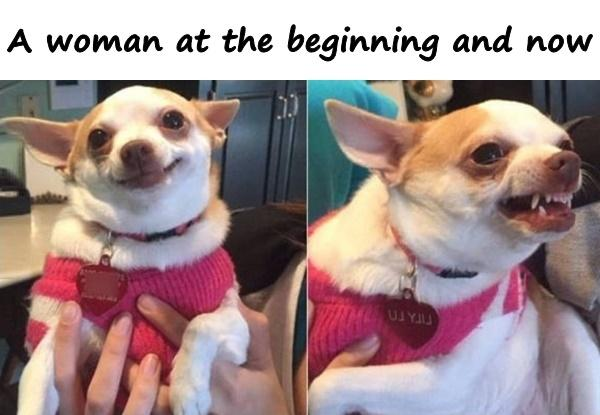 A woman at the beginning and now