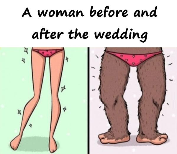 A woman before and after the wedding