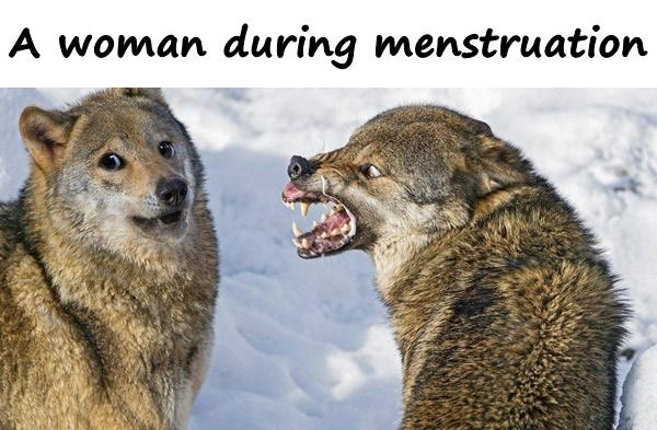 A woman during menstruation