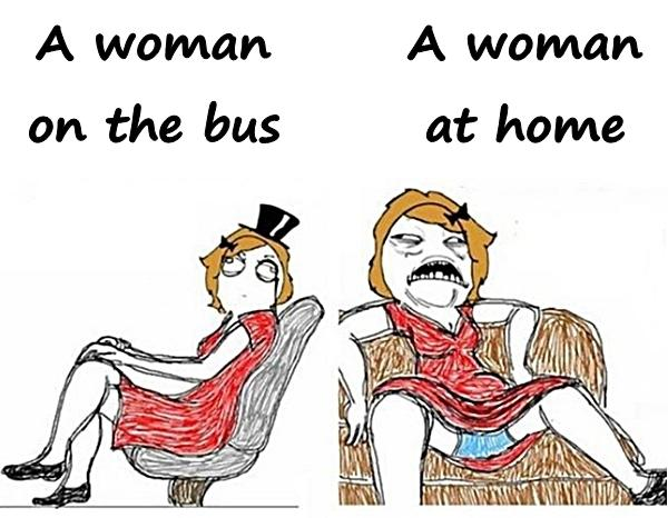 A woman on the bus and a woman at home