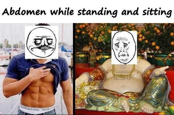 Abdomen while standing and while sitting