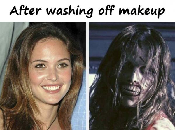 After washing off makeup