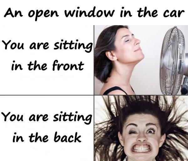 An open window in the car