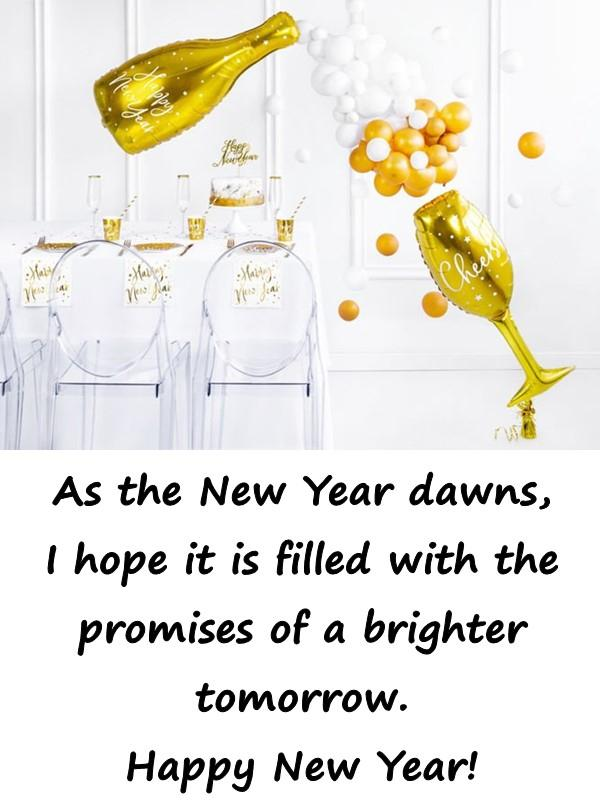 As the New Year dawns, I hope it is filled with the promises of a brighter tomorrow. Happy New Year!