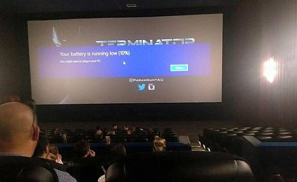 Battery low in a cinema