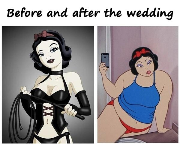 Before and after the wedding
