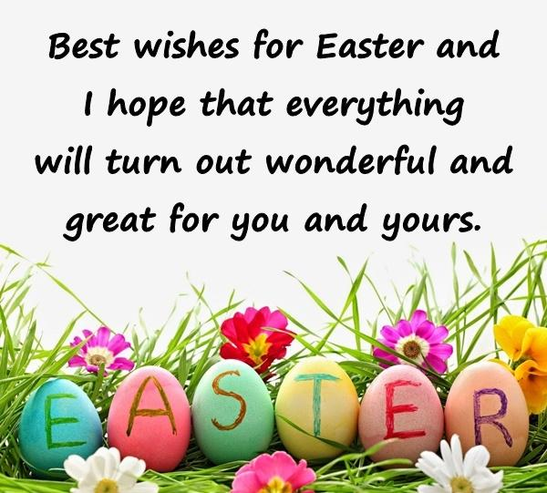 Best wishes for Easter and I hope that everything will turn out wonderful and great for you and yours.