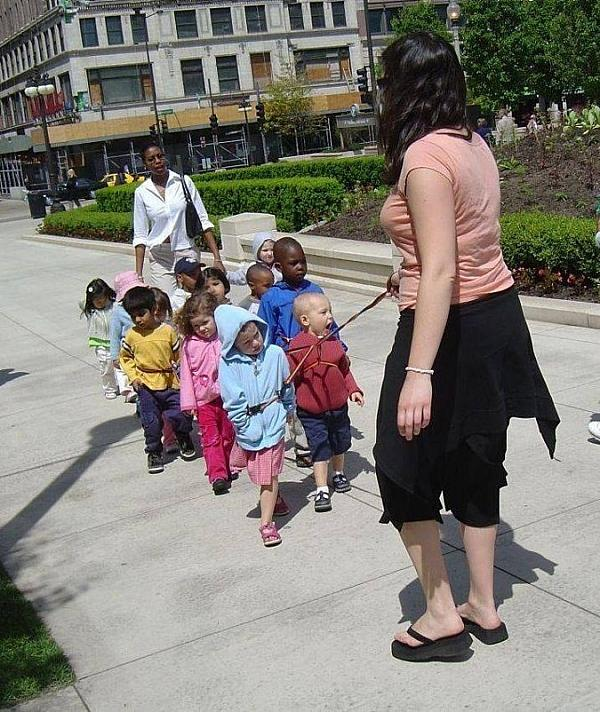 Children on leashes
