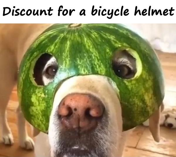 Discount for a bicycle helmet