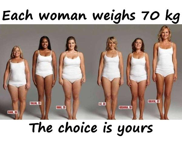 Each woman weighs 70 kg. The choice is yours.