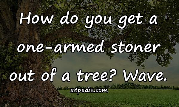 How do you get a one-armed stoner out of a tree? Wave.
