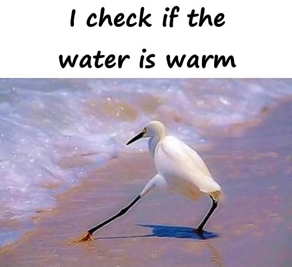 I check if the water is warm