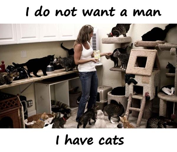 I do not want a man. I have cats.