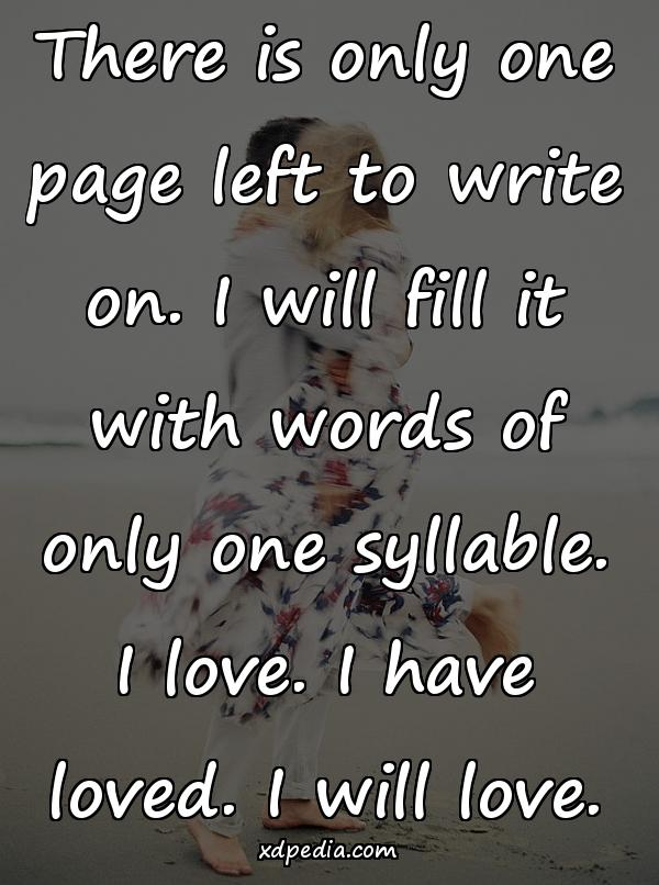 There is only one page left to write on. I will fill it with words of only one syllable. I love. I have loved. I will love.