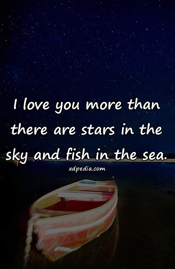 I love you more than there are stars in the sky and fish in the sea.