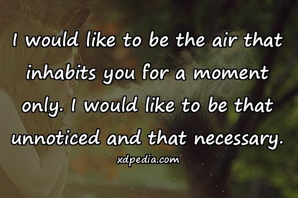 I would like to be the air that inhabits you for a moment only. I would like to be that unnoticed and that necessary.