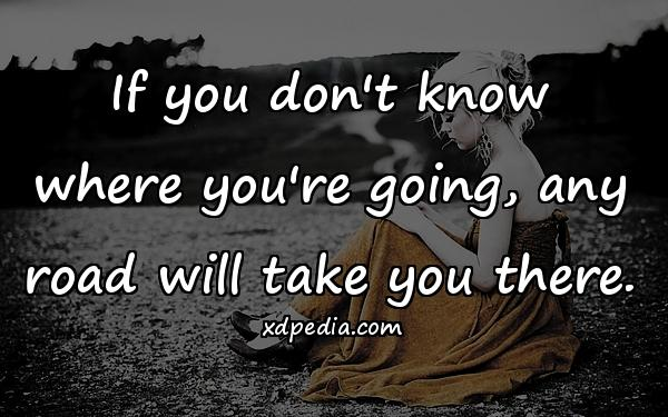 If you don't know where you're going, any road will take you there.