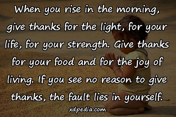 When you rise in the morning, give thanks for the light, for your life, for your strength. Give thanks for your food and for the joy of living. If you see no reason to give thanks, the fault lies in yourself.