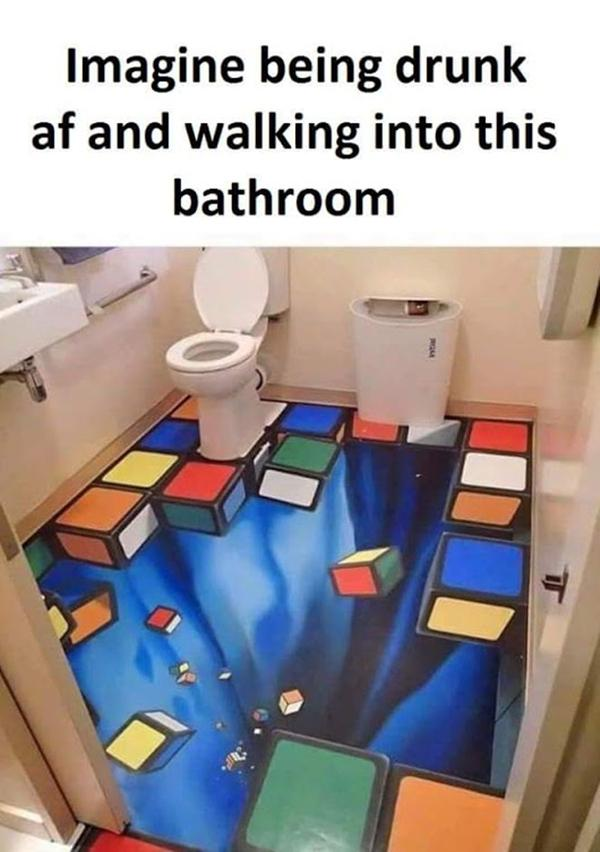Imagine being drunk af and walking into this bathroom