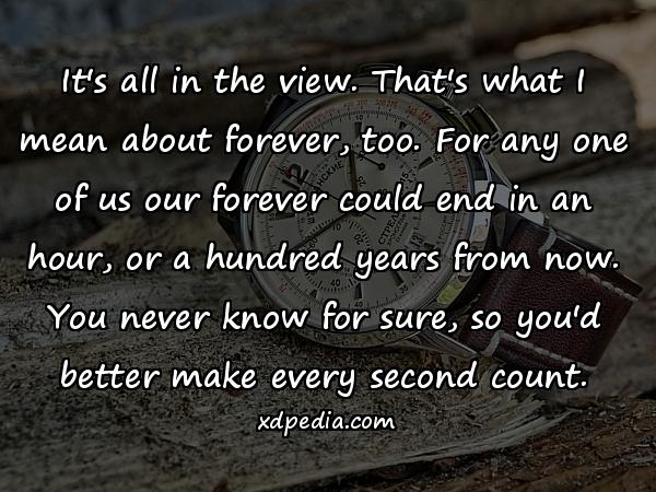 It's all in the view. That's what I mean about forever, too. For any one of us our forever could end in an hour, or a hundred years from now. You never know for sure, so you'd better make every second count.