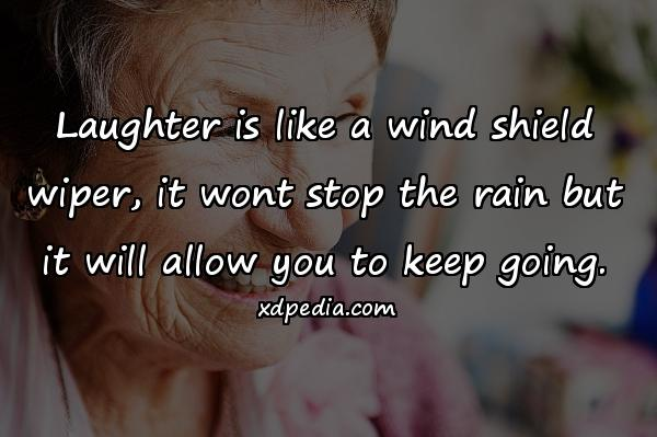 Laughter is like a wind shield wiper, it wont stop the rain but it will allow you to keep going.