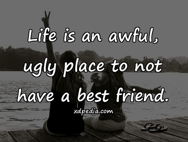 Life is an awful, ugly place to not have a best friend.