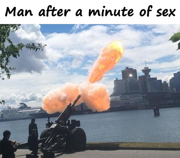 Man after a minute of sex