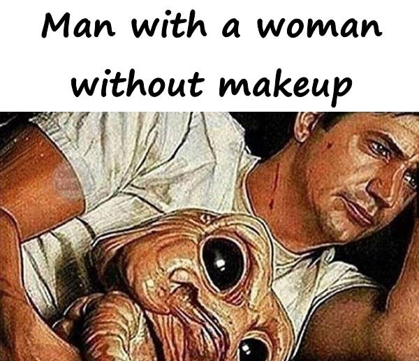 Man with a woman without makeup