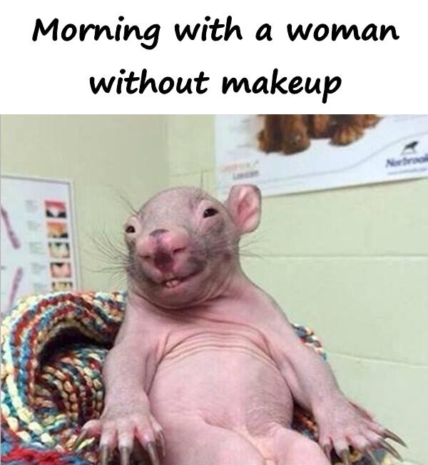 Morning with a woman without makeup