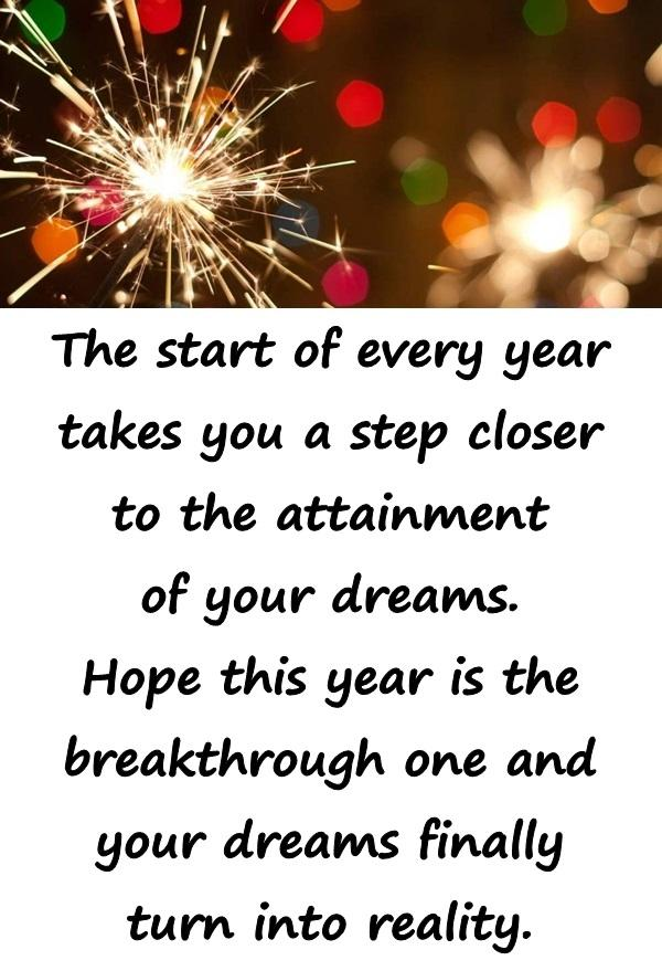 The start of every year takes you a step closer to the attainment of your dreams. Hope this year is the breakthrough one and your dreams finally turn into reality.