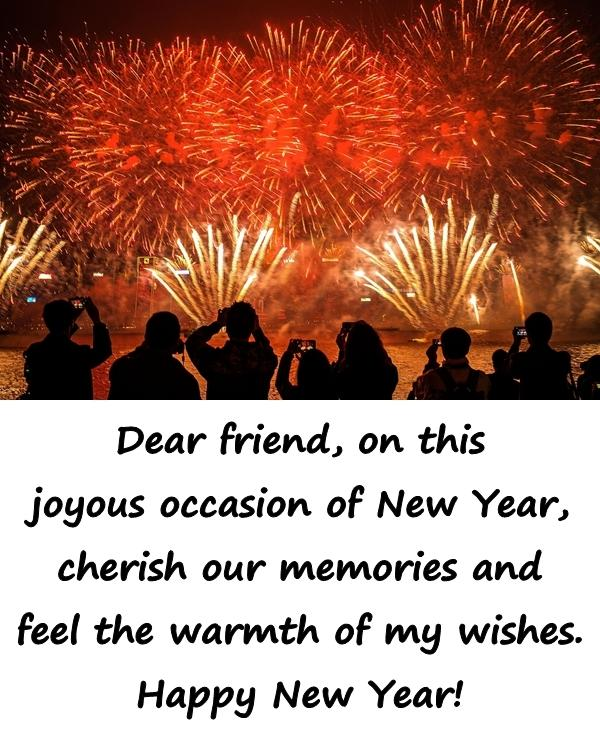 Dear friend, on this joyous occasion of New Year, cherish our memories and feel the warmth of my wishes. Happy New Year!