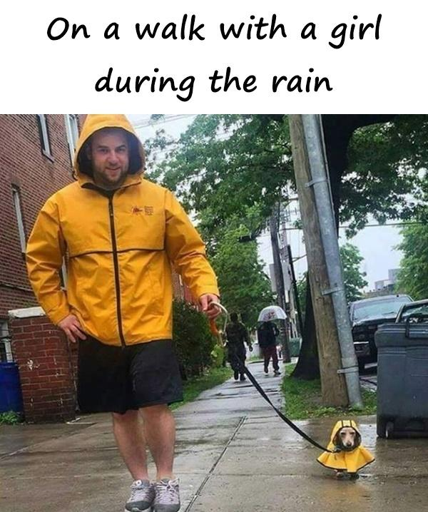 On a walk with a girl during the rain