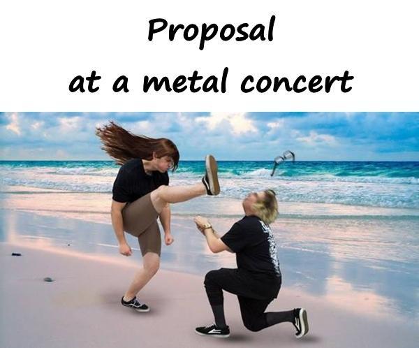Proposal at a metal concert