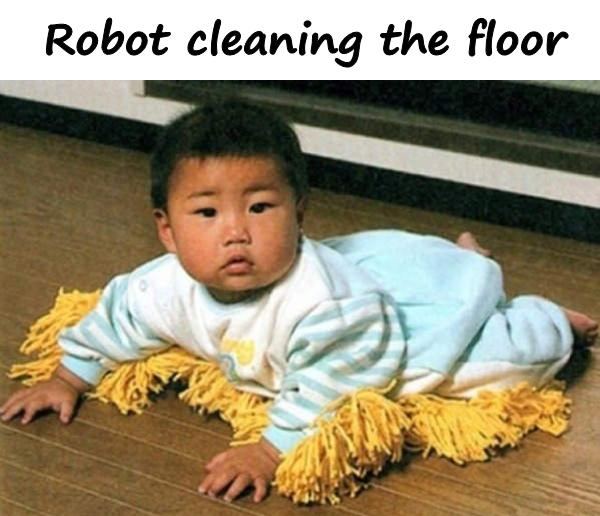 Robot cleaning the floor