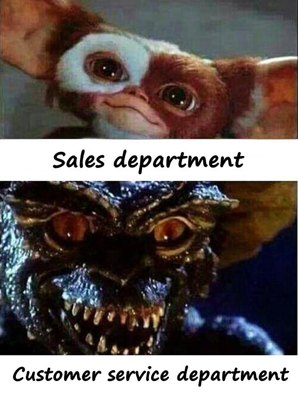 Sales department and customer service department