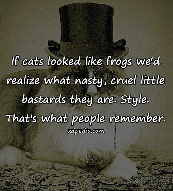 If cats looked like frogs we'd realize what nasty, cruel little bastards they are. Style. That's what people remember.