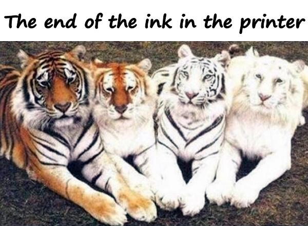 The end of the ink in the printer