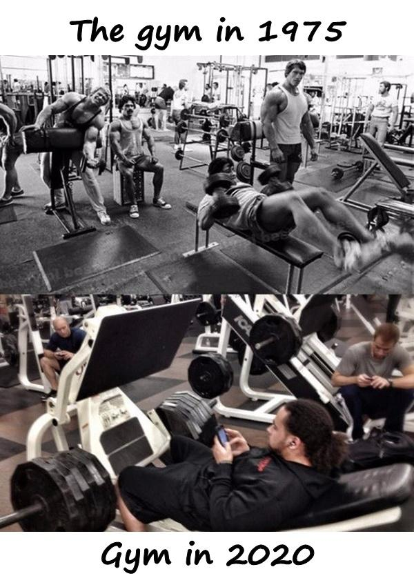 The gym in 1975 and in 2020
