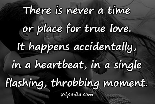 There is never a time or place for true love. It happens accidentally, in a heartbeat, in a single flashing, throbbing moment.