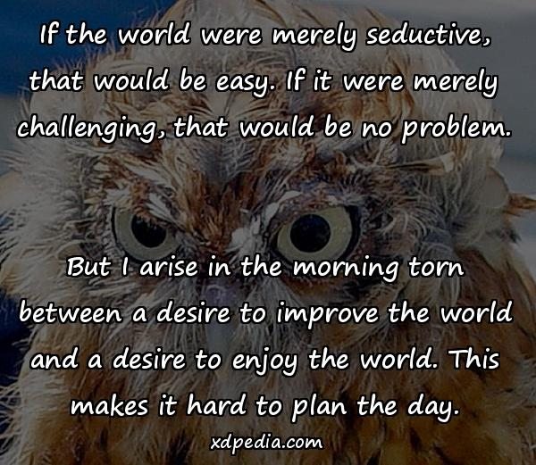 If the world were merely seductive, that would be easy. If it were merely challenging, that would be no problem. But I arise in the morning torn between a desire to improve the world and a desire to enjoy the world. This makes it hard to plan the day.