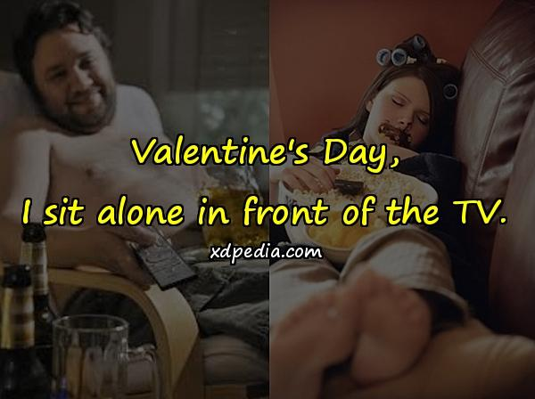 Valentine's Day, I sit alone in front of the TV.