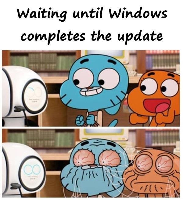 Waiting until Windows completes the update